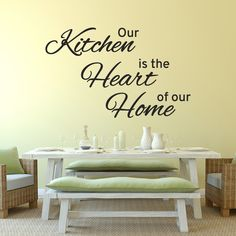 The perfect addition to any family kitchen. Our kitchen is the heart of our home wall sticker. Contour cut from removable vinyl. Choice of sizes and colours.