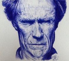 ...pen & ink of Clint Eastwood....