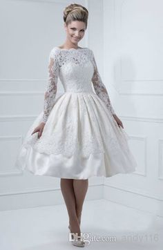 White Knee-Length V-Neck Long Sleeves Zipper Pleat Lace Satin Wedding Dresses Bridal Gowns JHS0005