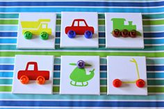Do you recognize the wheels on this DIY transportation art? That's right - they're the tops to squeeze fruit pouches! Talk about a creative repurpose!