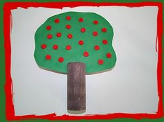 Fall Craft Toilet-Paper-Roll-Apple-Tree For-Kids