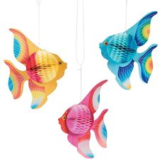 Looking for fun luau decoration ideas? These colorful tissue paper fish decorations are perfect for under-the-sea fun! Hang these tropical swimmers from the . Mermaid Under The Sea, Under The Sea Theme, Under The Sea Party, Ocean Themes, Beach Themes, Beach Ideas, Under The Sea Decorations, Fish Decorations, Tropical Home Decor