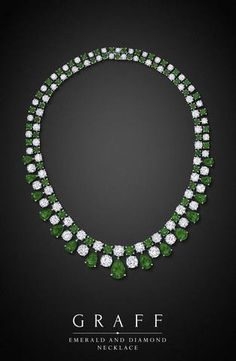 Ruby Necklaces Graff Diamonds: Emerald and Diamond Necklace How much do you think this costs? Ruby Necklaces One Emerald Necklace, Emerald Jewelry, High Jewelry, Diamond Jewelry, Diamond Necklaces, Emerald Rings, Ruby Rings, Sapphire Earrings, Emerald Diamond