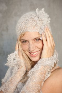 knitted stole set - wedding shawl set -  knitted stole, hat and arm warmers -