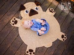 Pug Puppy Dog Animal Rug Nursery Mat Crochet Pattern for Babies Kids and Infants