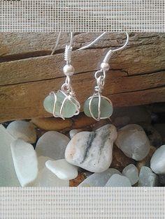 Seafoam Sea Glass Orb Earrings