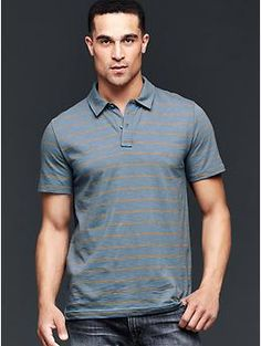 Lived-in double-stripe polo - The perfect combination of a polished silhouette and a soft, textured slub. The Lived-in polo is your easiest polo yet.