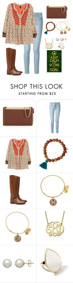 """Soccer tryouts are this week!! "" by apemb ❤ liked on Polyvore featuring Foley + Corinna, Frame Denim, H&M, Lead, Tory Burch, Alex and Ani, My Name Necklace, Honora and Ippolita"