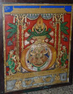 Mysore painting. Indian Traditional Paintings, Indian Paintings, Traditional Art, Mysore Painting, Tanjore Painting, Madhubani Art, Indian Folk Art, Outline Drawings, Buddhist Art