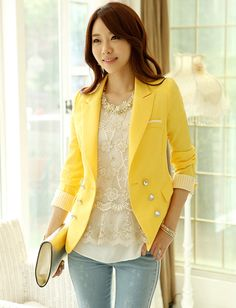 Simple Style Double-Breasted Buckle #Blazer for Women, Shop online for $29.80 Cheap #Blazers code 706197 - Eastclothes.com
