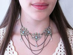 $60  Magnificent draping chain statement necklace with Swarovski blue and green crystals. Get this necklace as well as its matching earrings in my Etsy shop today!