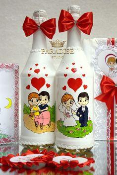 """Купить Украшение на шампанское """"Love is"""" - ярко-красный, свадьба лав из, приглашение love is"""