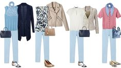 Here's an example of 4 looks for a smart casual capsule wardrobe.