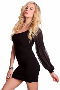 Black One Shoulder Sheer Mesh Long Sleeves Ruched Sides Sexy Dress @ Amiclubwear $27.99