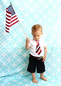 Patriotic Tie Onesie for Baby Boy. Memorial Day, Labor Day, 4th of July, or Military Mom Welcome Home Outfit.