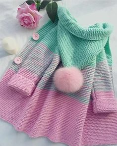 Crochet Patterns For Kids Sweaters Baby Cardigan 29 Ideas Knitting Terms, Knitting For Kids, Crochet For Kids, Free Knitting, Knitting Projects, Crochet Baby, Knit Crochet, Knitting Sweaters, Crochet Shoes