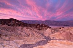 Sunrise over Zabriskie Point and Panamint range, Death Valley, Death Valley National Park. Panamint Range (3.366 m)