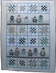 Northern Quilts Penguin Winter Quilt pattern - The Penguin Winter Quilt is an international bestseller! Great quilt 54 x with cute appliqued penguins and Arctic Star blocks. English text, color print pattern, b/w pattern sheets. Cute Quilts, Baby Quilts, Panel Quilts, Quilt Blocks, Quilting Projects, Quilting Designs, Applique Quilt Patterns, Bird Quilt, Winter Quilts