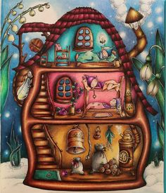 Sweet dreams in Enchanted world Coloring Book Art, Adult Coloring Pages, Markova, House Drawing, Colouring Techniques, Polychromos, Coloured Pencils, Fairy Art, Prismacolor