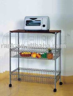 Chrome Wire Metal Moveable Metal Wire Kitchen Cart $15~$25