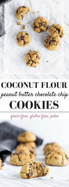 Coconut Flour Peanut Butter Chocolate Chip Cookies: incredibly soft grain-free, gluten-free, paleo cookies! You won't even miss the butter or sugar! #cookies #chocolatechip #grainfree #paleo