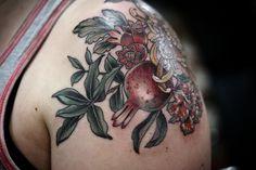 Pomegranate bouquet by Kirsten Holliday at Wonderland Tattoo, Portland Oregon Wonderland Tattoo, Portland Oregon, Pomegranate, Bouquet, Tattoos, Granada, Tatuajes, Bouquet Of Flowers, Tattoo