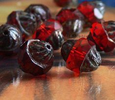 Turbine Ruby Picasso Czech Glass Beads Antiqued Style by simplypie