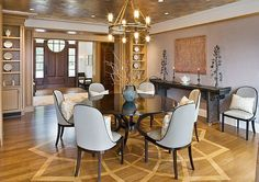 Luxuroius Dining Room Interior Ideas For Your Home With Wooden Floor Grey Wall Chandilier Round Dining Table Wooden Cabinet