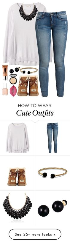 """I know it's spring but winter outfits are way cute!"" by classyandsassyabby on Polyvore featuring Rebecca Taylor, Paige Denim, David Yurman, Lord & Taylor, UGG Australia, Clinique, LORAC, Essie and Lime Crime"