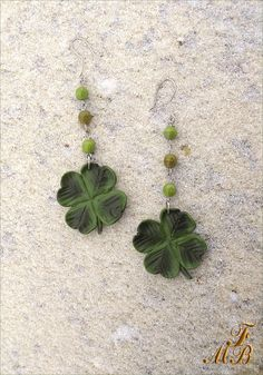 St.Patrick's Day Gift_Handmade Polymer Clay Dangle And Drop Earrings_4 Leaf Clover Pin_Good Luck's Amulet_Gift For Woman_Spring Gift (15.00 USD) by FannyMagicBijou