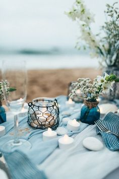 Ocean blue and shades of gray colour scheme   Organic + Ethereal Beachside Wedding Inspiration   Photography : http://pshefter.com   Read more #weddinginspiration on http://fabmood.com Wedding Inspiration from Emma Hunt London X