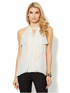 Draped Chiffon Top in Winter White, Soft Pink and Black
