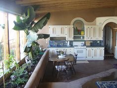 Earthship kitchen with garden