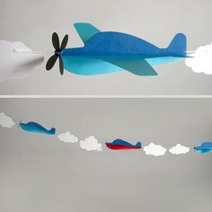 Airplane Party Garland Baby Shower Birthday by BlueOakCreations Airplane Baby Shower, Airplane Party, Planes Party, Diy And Crafts, Crafts For Kids, Paper Crafts, Baby Shower Avion, Decoration Creche, Party Girlande