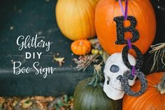 Fun, Glittery, DIY Halloween BOO Sign | The Little Umbrella