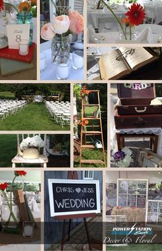 A collage of details from a wedding we coordinated recently, how pretty! #wedding #chalkboard #floral #outdoor