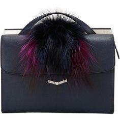 Fendi Demi-jour Bag ($2,800) ❤ liked on Polyvore featuring bags, handbags, top handle bag, strap bag, blue handbags, blue bag and fur handbags