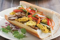 This hearty bahn mi filling of golden scrambled tofu packed in a toasted baguette good to eat for breakfast or a casual but incredible weeknight meal