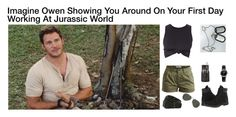 """""""Imagine Owen Showing You Around On Your First Day Working At Jurassic World"""" by alyssaclair-winchester ❤ liked on Polyvore featuring Object Collectors Item, Timberland, Ray-Ban, Emporio Armani, imagine, jurassicpark, jurassicworld and OwenGrady"""