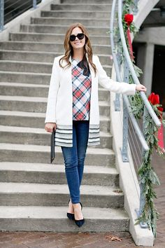 jillgg's good life (for less) | a west michigan style blog: my everyday style. Plaid top+skinny jeans+black ankle strap pumps+white jacket with black details+black envelope clutch with golden details+black sunglasses. Fall Casual Event Outfit 2016