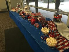 Patriotic candy buffet. Political themes for red, white and blue celebration.