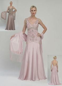 Sue Wong Pale Rose Stunning Satin & Ribbon Embroidered Gown - Unique Vintage - Prom dresses, retro dresses, retro swimsuits.