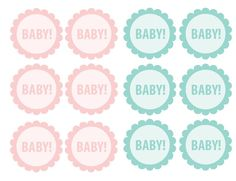Here are some free baby shower printables! Print these out on cardstock and use Craft Glue Dots to adhere them to stir sticks or toothpicks for cute cupcake toppers!