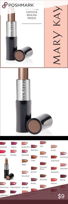 🆕 Mary Kay Creme Lipstick Mocha Freeze 🆕 Mary Kay Creme Lipstick Mocha Freeze ▪️Long-wearing, stay-true formula glides on easily with a lightweight, creamy texture for rich color impact that lasts. Plus, it won't feather or bleed. ▪️Vitamin E & a vitamin C derivative help defend against wrinkle-causing free radicals ▪️Provides instant moisture ▪️Suitable for sensitive skin ▪️Clinically tested for skin irritancy and allergy ▪️Fragrance-free ▪️NOTE: In electronic media, true colors may vary…