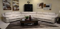 3 Piece Leather Reclining Sectional Sofa in White