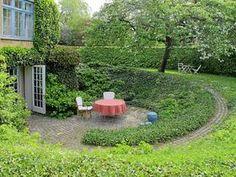 C.Th.Sørensen- lovely, sheltering spiral opens up sunken patio to garden around.