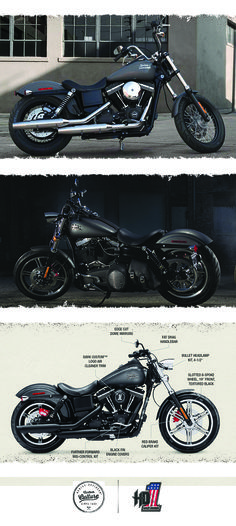 """There is no such thing as a """"perfect custom"""" motorcycle, but the raw and authentic Dyna lineup may just be the perfect place to begin.   2016 Harley-Davidson Street Bob"""