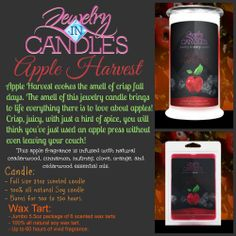 Apple Harvest Candle $24.95 Apple Harvest Wax Tart $15.95 now available at https://www.jewelryincandles.com/store/lizyac/p/50:c:90/all-jewelry-candles/apple-harvest-candle/  Apple Harvest evokes the smell of crisp fall days. The smell of this jewelry candle brings to life everything there is to love about apples! Crisp, juicy, with just a hint of spice, you will think you've just used an apple press without even leaving your couch! #JewelryInCandles #JIC #AppleHarvest #Candle