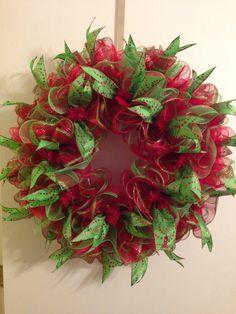 Christmas deco mesh ruffle wreath.