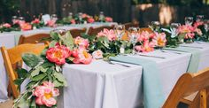 A fashionable wedding in her parent's backyard garden with coral peonies and yellow garden roses abundant throughout the casual-elegant design.